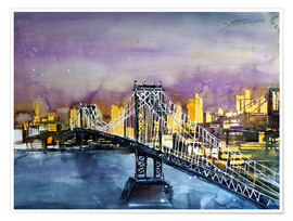 Premium poster  New York, Manhattan Bridge - Johann Pickl