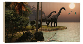 Hout print  Two Brachiosaurus dinosaurs - Corey Ford