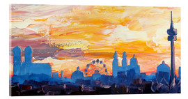 Acrylglas print  Munich Skyline at Dusk with Alps - M. Bleichner