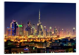Acrylglas print  Dubai skyline at night - Stefan Becker