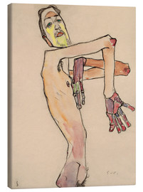 Canvas print  Nude with crossed arms - Egon Schiele