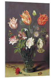 PVC print  Tulips with other Flowers in a Glass on a Table - Jan Brueghel d.Ä.