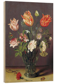 Hout print  Tulips with other Flowers in a Glass on a Table - Jan Brueghel d.Ä.