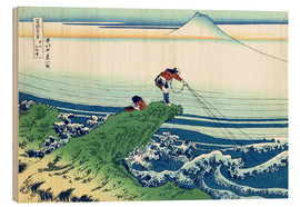 Hout print  A fisherman stands on a rock on Kajikazawa in Kai Province - Katsushika Hokusai