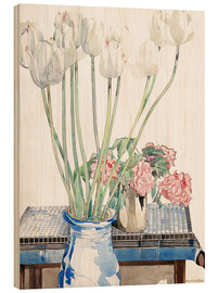 Hout print  White tulips - Charles Rennie Mackintosh