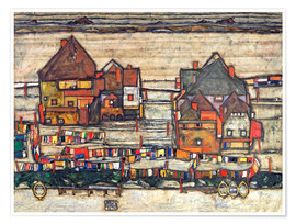 Premium poster  Houses with colorful laundry - Egon Schiele