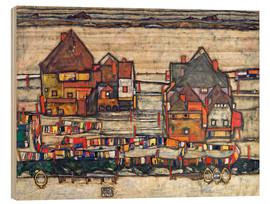 Hout print  Houses with colorful laundry - Egon Schiele