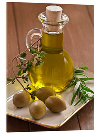 Acrylglas print  Olive oil and olives - Edith Albuschat