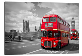 Aluminium print  Westminster Bridge and Red Buses - Melanie Viola