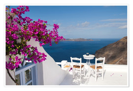 Premium poster  Terrace with pink flowers - Bill Bachmann