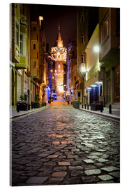 Acrylglas print  The famous Galata-Tower at night (Istanbul/Turkey) - gn fotografie