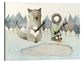 Aluminium print  The little Inuit girl and the wolf - Judith Loske