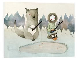 PVC print  The little Inuit girl and the wolf - Judith Loske