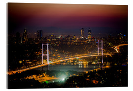 Acrylglas print  Bosporus-Bridge at night - pink (Istanbul / Turkey) - gn fotografie