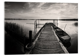 Acrylglas print  Wooden pier on lake, black and white - Frank Herrmann