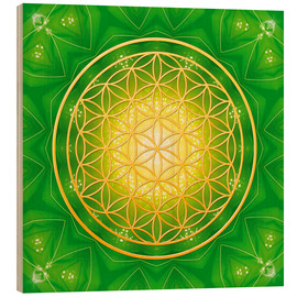 Hout print  Flower of life - healing - Dolphins DreamDesign