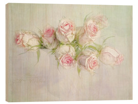 Hout print  pretty pink roses - Lizzy Pe