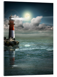 Acrylglas print  Lighthouse by moonlight - Monika Jüngling