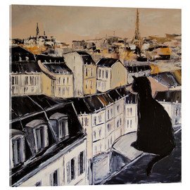 Acrylglas print  Black cat on a roof in Paris - JIEL