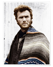 Premium poster Clint Eastwood with a poncho