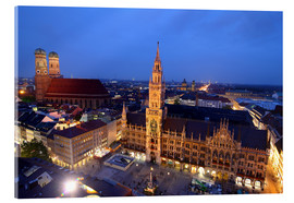 Acrylglas print  Church of our Lady and the new town hall in Munich at night - Buellom