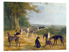 Acrylglas print  Nine Greyhounds on a landscape - Jacques Laurent Agasse