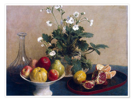 Premium poster Flowers, dish with fruit and carafe