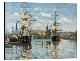 Aluminium print  Ships on the Seine at Rouen - Claude Monet