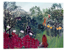 Acrylglas print  Tropical forest with monkeys - Henri Rousseau