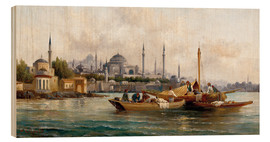 Hout print  Merchant vessels in front of Hagia Sophia, Istanbul - Anton Schoth