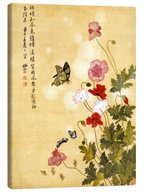 Canvas print  Poppies and Butterflies - Ma Yuanyu