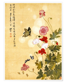 Premium poster Poppies and Butterflies