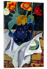 Acrylglas print  Still life with tulips in a blue pot - Paula Modersohn-Becker