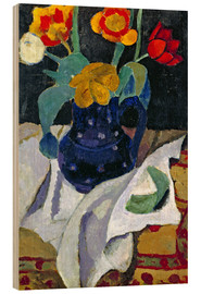 Hout print  Still life with tulips in a blue pot - Paula Modersohn-Becker