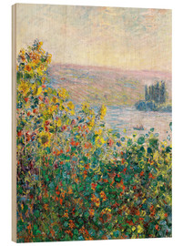 Hout print  Flower Beds at Vetheuil - Claude Monet