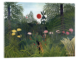 Acrylglas print  Jungle landscape with setting Sun - Henri Rousseau