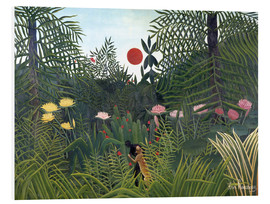 PVC print  Jungle landscape with setting Sun - Henri Rousseau