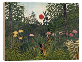 Hout print  Jungle landscape with setting Sun - Henri Rousseau