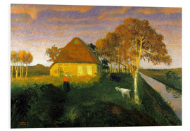 PVC print  Moor cottage in the evening sun - Otto Modersohn