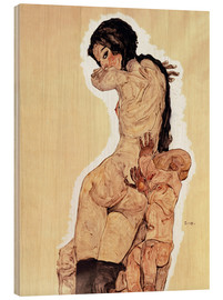 Hout print  Mother and Child - Egon Schiele