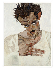 Premium poster  Egon Schiele with his head down - Egon Schiele
