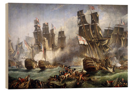 Hout print  The Battle of Trafalgar