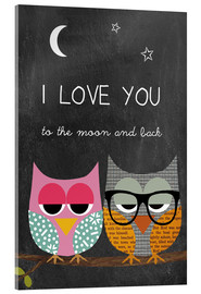 Acrylglas print  Owls - I love you to the moon and back - GreenNest