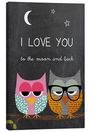Canvas print  Owls - I love you to the moon and back - GreenNest