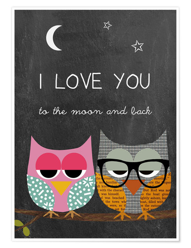 Premium poster Owls - I love you to the moon and back