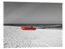 Acrylglas print  Red boat on the beach - HADYPHOTO