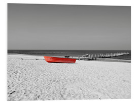 PVC print  Red boat on the beach - HADYPHOTO