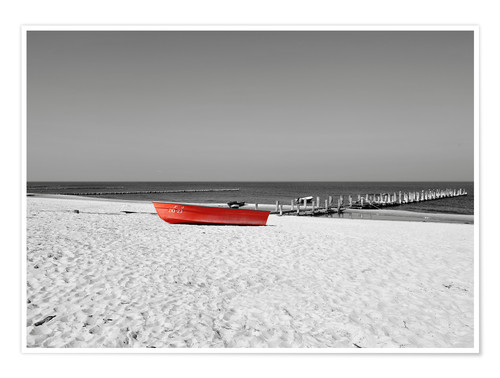 Premium poster Red boat on the beach