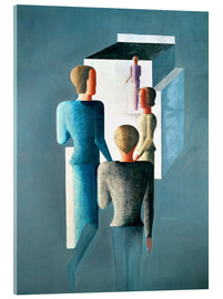 Acrylglas print  Four figures and cube - Oskar Schlemmer