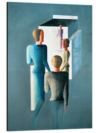 Aluminium print  Four figures and cube - Oskar Schlemmer